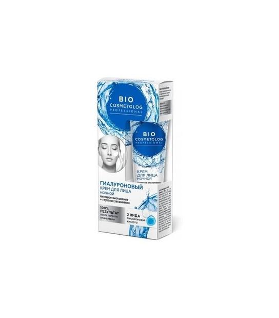 Bio Cosmetolog, Krem do twarzy na noc z kwasem hialuronowym (45 ml)